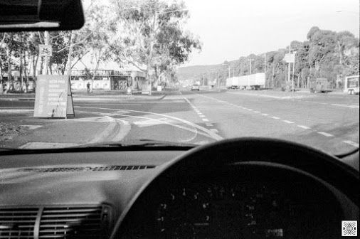My Canberra - on film mainly Mitchell, back in 2015  ... siting in the car and waiting, I like these streets of Mitchell...   Olympus XA, Kodak T-Max 100  www.pavelvrzala.com  #Australia #Canberra #Mitchell #Kodak #TMax100 #film #Olympus #XA