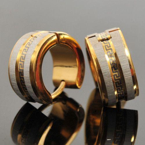 Men Earrings 18K Gold Earrings 316L Stainless Steel Stud Earrings Greek Key High Quality