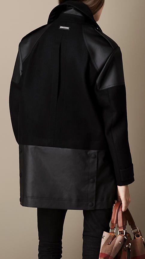 Contrast Fabric Pea Coat   Burberry