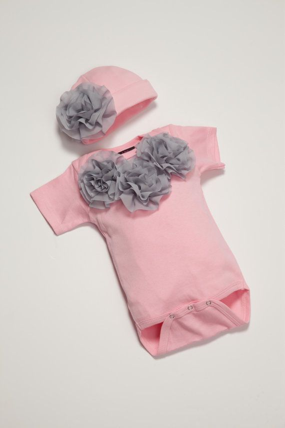 Baby Girl Onesie Set Short Sleeve Pink Onesie set with Light Grey Chiffon Flowers on Etsy, $24.00