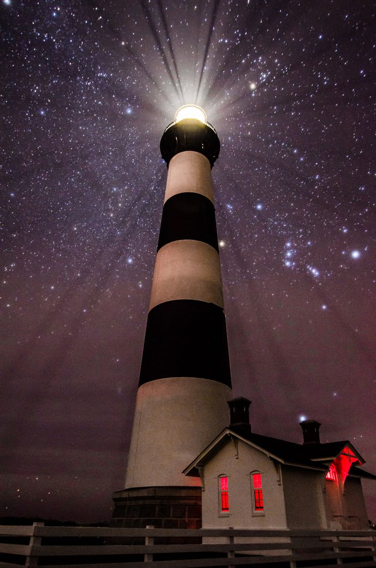 Orion's Belt above Bodie Island Light Station OBX of NC [954 x 1440] OC