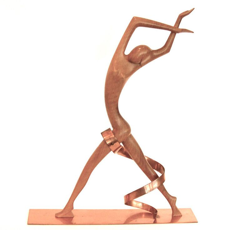 Impressive Art Deco Hagenauer Walnut  Copper Sculpture, ca. 1930s.