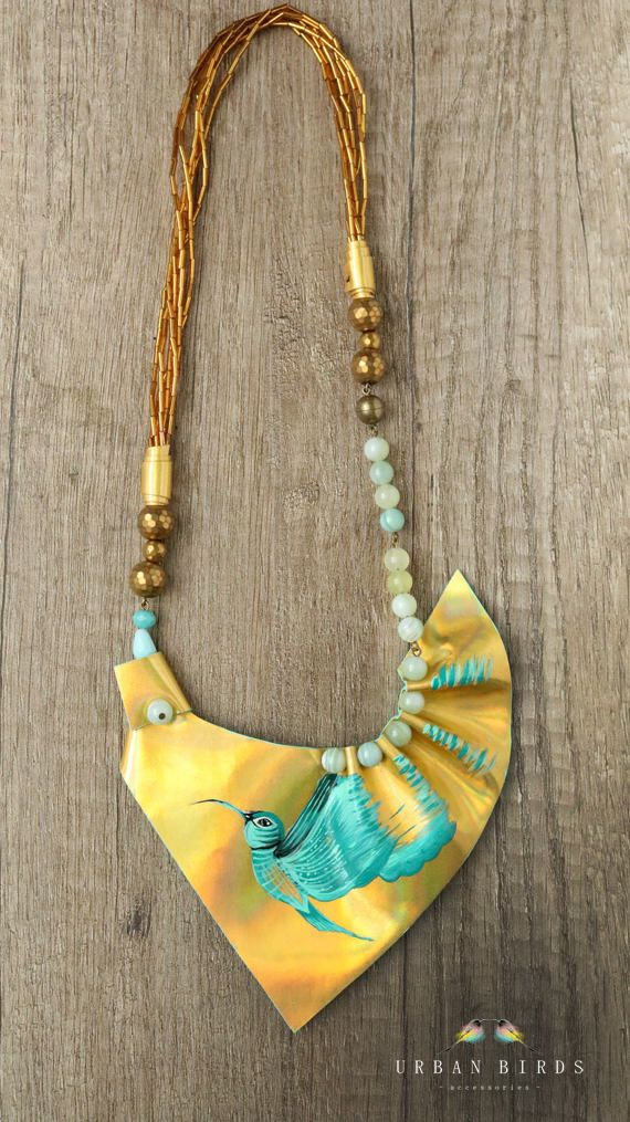 Leather Necklace, Handmade Necklace, Birds, Hummingbird, Turquoise, Handpainted Bird, Beads, Natural Stones, Agate, Glass Beads by UrbanBirdsUrbanBirds on Etsy