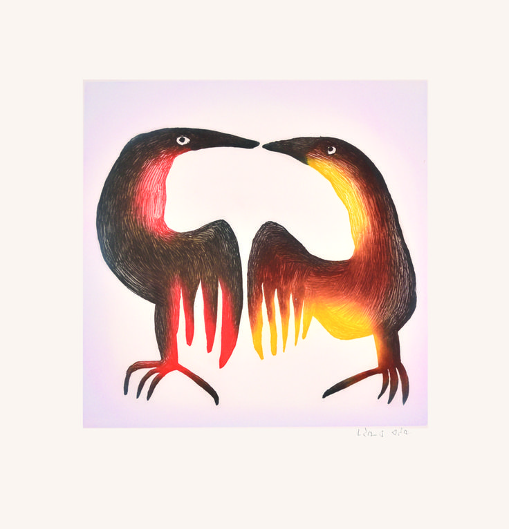 """Item # P14CD08 Price: C$550 Title: Bedazzled Dated: 2014 - Signed Artist: Link   Ashoona, Mayureak    Edition: 50  Community:  Link   Cape Dorset     Ref: Print #8 of the 2014 Cape Dorset Collection  Size: inches/cm 25"""" x 24"""" 63.5 cm x 61 cm Style: Etching / Aquatint Paper: Arches white http://www.inuitarteskimoart.com/images/P14CD08L.jpg"""
