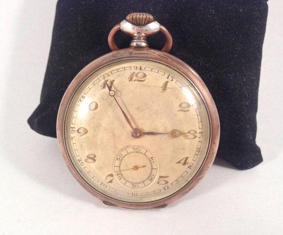 Early 1900's Oreba Silver Pocket Watch 0.800 by StonebrookVintage