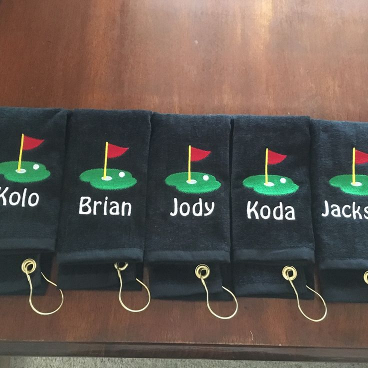 Custom personalized embroidered golf towels. Perfect for wedding party favors.