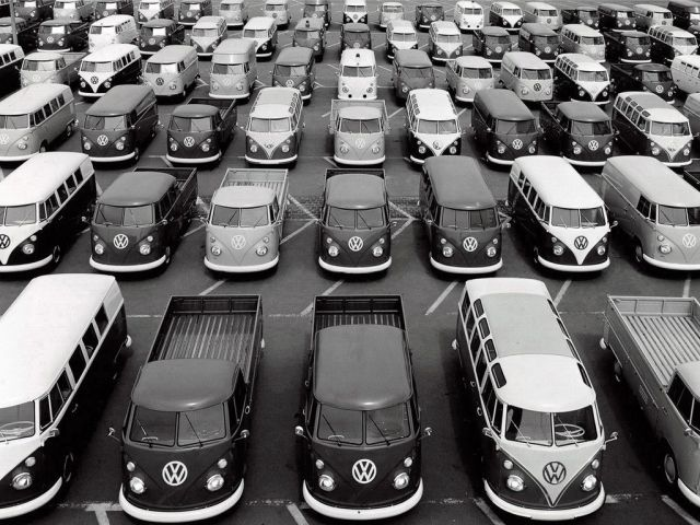 Once upon a time ... . VW microbusses and microtrucks waiting for new homes.