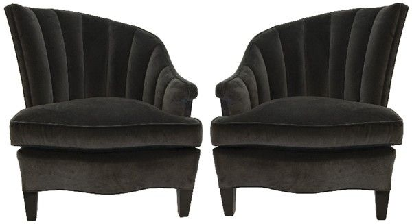 Pair of Asymmetrical Channel-Back Chairs | nyshowplace.com #black_lodge