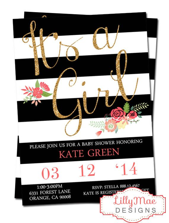 Baby Girl Shower Invitation  Black Stripes and by LillyMaeDesigns, $14.00 would love with navy blue stripes