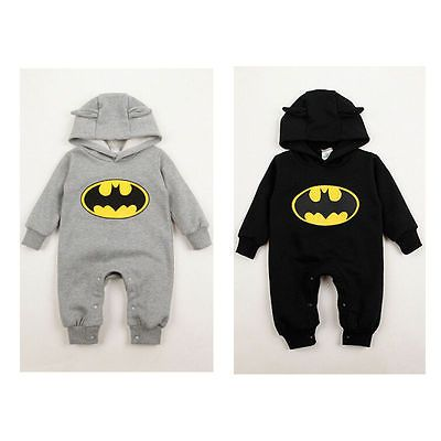 Newborn Infant Batman One Piece Romper Jumpsuit Boys Kids Baby Hoodie 3-24Months