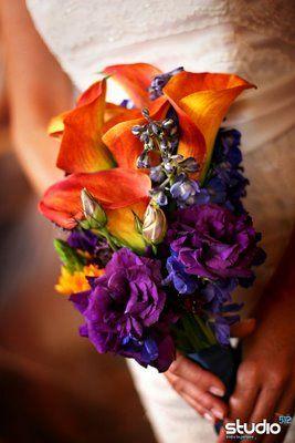 this rocks--bold indigo and orange. alla lilies, delphinium, orange star-of-bethlehem, lisianthus, and scabiosa