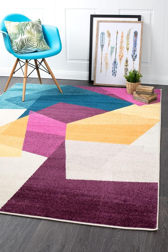 This Rug Is Perfect For Adding A Splash Of Colour To Brighten Up Your Living Space Or Office Lima Bright Multi Abstrac Modern Rugs Floor Area Rugs Bright Rugs