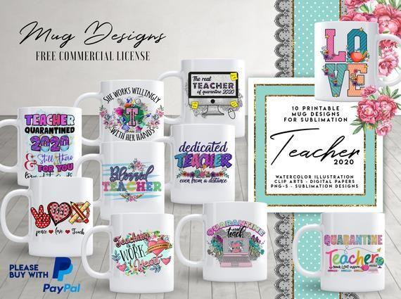 10 TEACHER Mug Template Designs for Sublimation Printing ...
