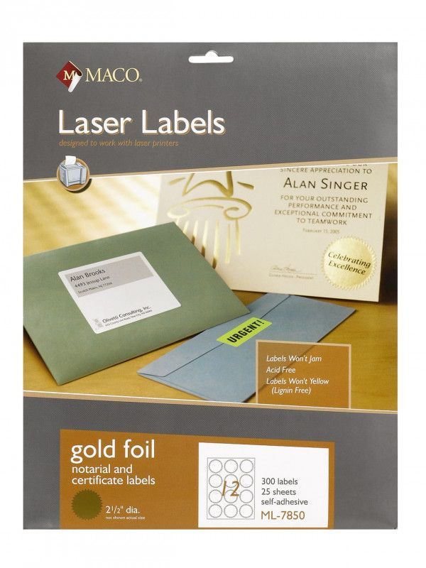 Maco Laser And Inkjet Labels Template Awesome Maco Permanent Gold Foil Seals Pack Of 300 Office Depot Best Templat Laser Labels Inkjet Labels Label Templates