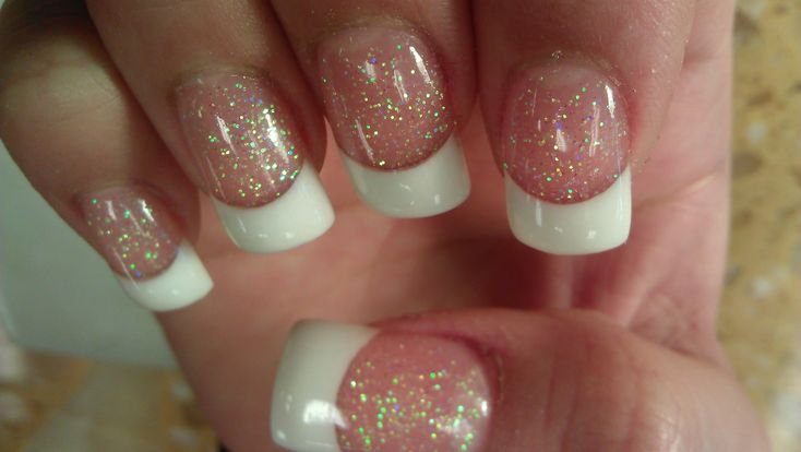 Image result for pink and white with sparkles nail design