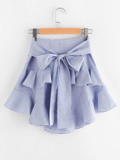 Falda de rayas con cordón