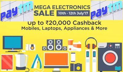 Paytm Offer Up To Rs. 20,000 Cashback Mega Electronics Sale 10 To 12 July 2017