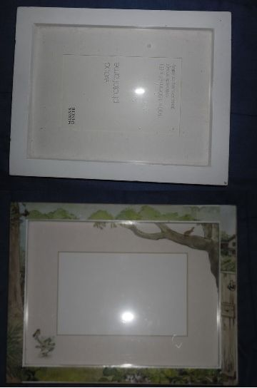 after, decoupaged photo frame using Peter Rabbit children's book - frame & book bought from charity shop.