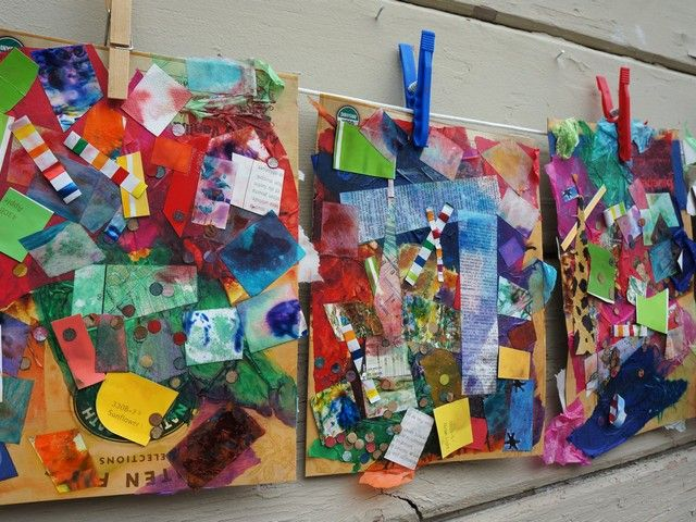 Glue paper glue collage with recycled materials from for Craft from waste material for adults