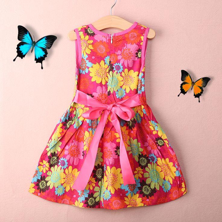 2016 Nueva Moda para Niños Pequeños Niños Niñas Verano Vestido Floral de la Princesa Sin Mangas Niñas Ropa Estampado floral Niños Del Vestido Del Tutú(China (Mainland))