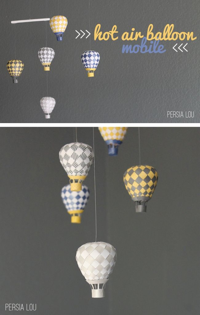 I have been wanting to try to make the beautiful woven paper hot air balloons from PaperMatrix for a long time now, and finishing up the nursery gave me the motivation to give it a shot. PaperMatrix generously provides free pdf templates that you can print off, cut out, and weave into amazing 3D works …