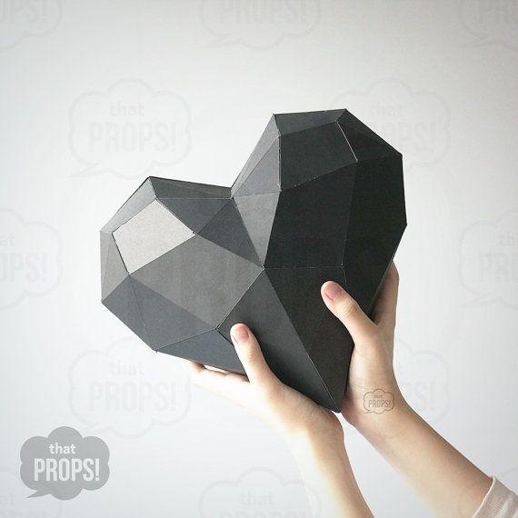 Accessoires de papier - 3D papier coeur Prop, Photobooth Prop, prop de stand Photo bricolage, créations en papier, pliage de coeur, bricolage accessoires modèle, modèle 3D