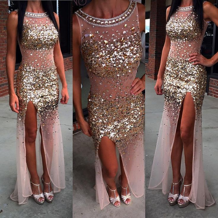Prom Dresses Miami Sexy See Through Prom Dresses With High Split Side 2016 Real Model Sequins Rhinestones Tulle Sheath Prom Gowns Custom Made Prom Dresses Nyc From Nicedressonline, $187.81| Dhgate.Com