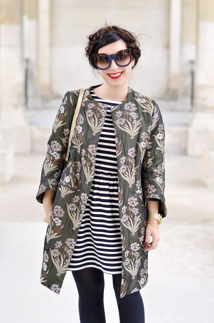 stripy dress, floral coat, sunglasses, fashion, style, milkmaid braids, hair, spring, stripes