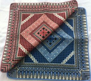 Cross stitch  pillow cover with star in the middle Size: approx 46*46 cm Price: $90 comes in red,  brown or blue color