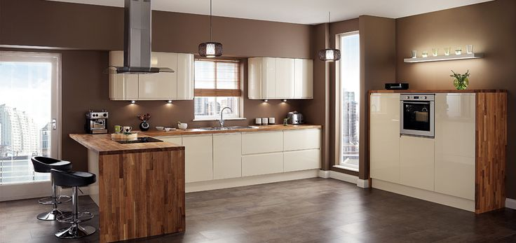 cream gloss kitchen with integrated handle and oak worktop - Google Search