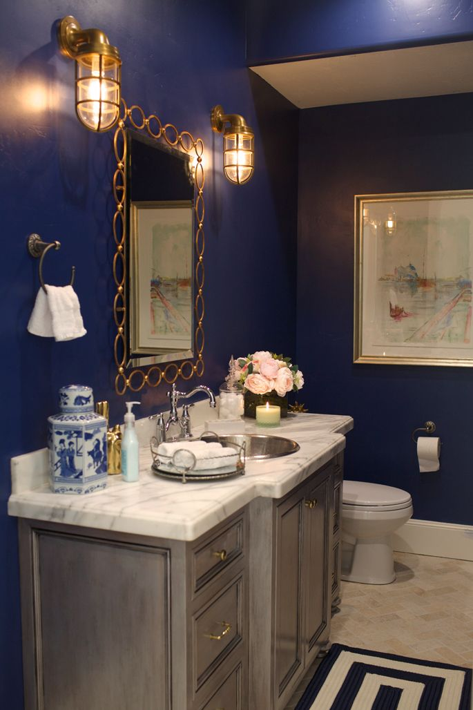 My style at home the powder room navy paint paint for Navy blue and gold bathroom accessories
