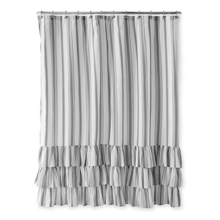 Home Shower Curtain Polyester Ruffle Shower Curtains Shower Curtains Walmart