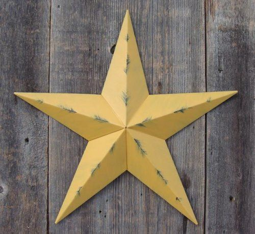 53 Inch Heavy Duty Metal Barn Star Painted Rustic Mustard The Rustic Paint Coverage Starts with a Black or Contrasting Base Coat and Then the Star Color Is Hand Painted on Top of the Base Coat with a Feathering Look Which Gives the Star a Distressed Appearance This Tin Barn Star Measures Approximately 53 From Point to Point Left to Right The Barnstar Is Hand Crafted Out of 22 Gauge Galvanized Steel By the Old Order Amish From Central Ohio This Size Star Will Arrive in 5 Separate Wings One…