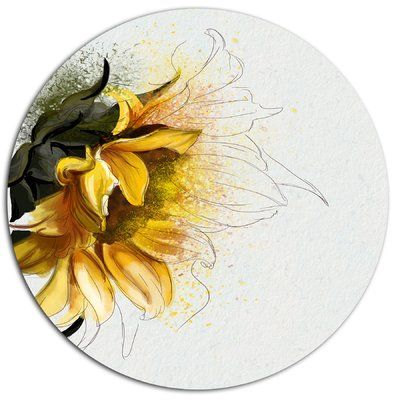 "DesignArt 'Bright Yellow Sunflower Illustration' Oil Painting Print on Metal Size: 23"" H x 23"" W x 1"" D"