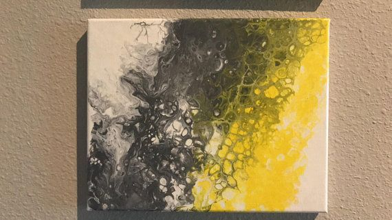 Abstract Gray Yellow And White 3 Pc Set Of Acrylic Paintings