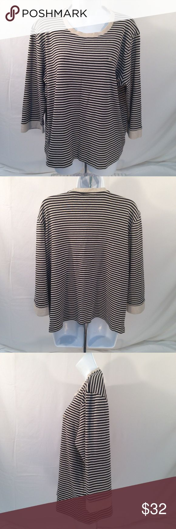 Lauren Ralph Lauren Womens Plus Size 3X Top Lauren Ralph Lauren Womens Plus Size 3X Cream Black Striped Top Logo 3/4 Sleeve Tan Knit Trim on beck and sleeves LRL Logo on Left Chest 100% Cotton Measurements are laid flat and approximate: Bust-26 Length-24 Sleeve-18 Lauren Ralph Lauren Womens Plus Size 3X Cream Black Striped Top Logo 3/4 Sleeve Lauren Ralph Lauren Tops