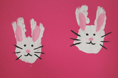 Cute Handprint Easter Bunnies! From PinkieforPink