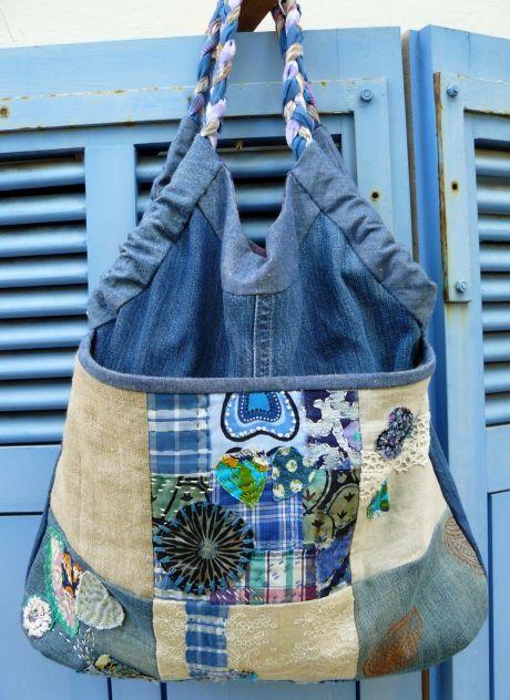 denim, indigo, recycled, recycling, shirt, cotton, patchwork, quilt, bag, bag, bag, cotton, flax, linen 1 of 2