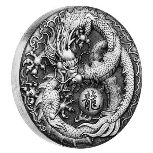 In Chinese culture, the dragon is revered as a divine mythical creature, a symbol of power, strength, wealth, and good fortune | Dragon 2017 2oz Silver Antiqued Coin | The Perth Mint