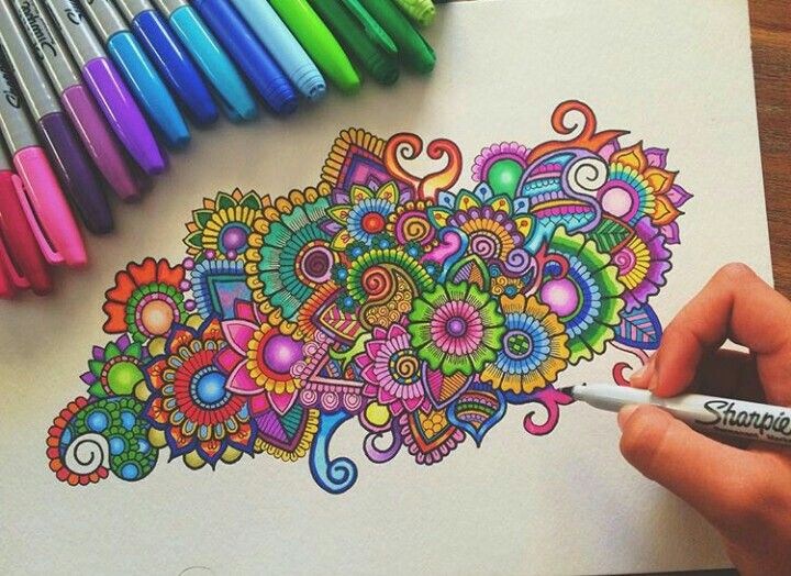 colourful doodle with sharpie/bic. not really a mandala ...