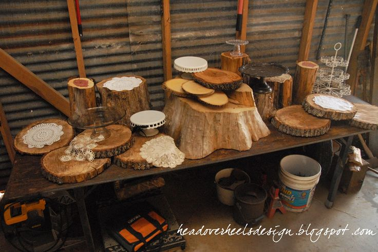 """rustic cupcake display for wedding 