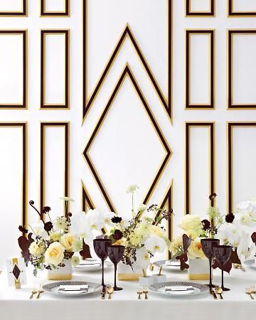 Basic white vessels go glam with help from a gold-leafing kit. Get the how to at marthastewartweddings.com: Idea, Backdrops, Black White Gold, Colors Schemes, Black Gold, Gold Wedding, Art Deco, Martha Stewart Wedding, Wedding Colors Palettes