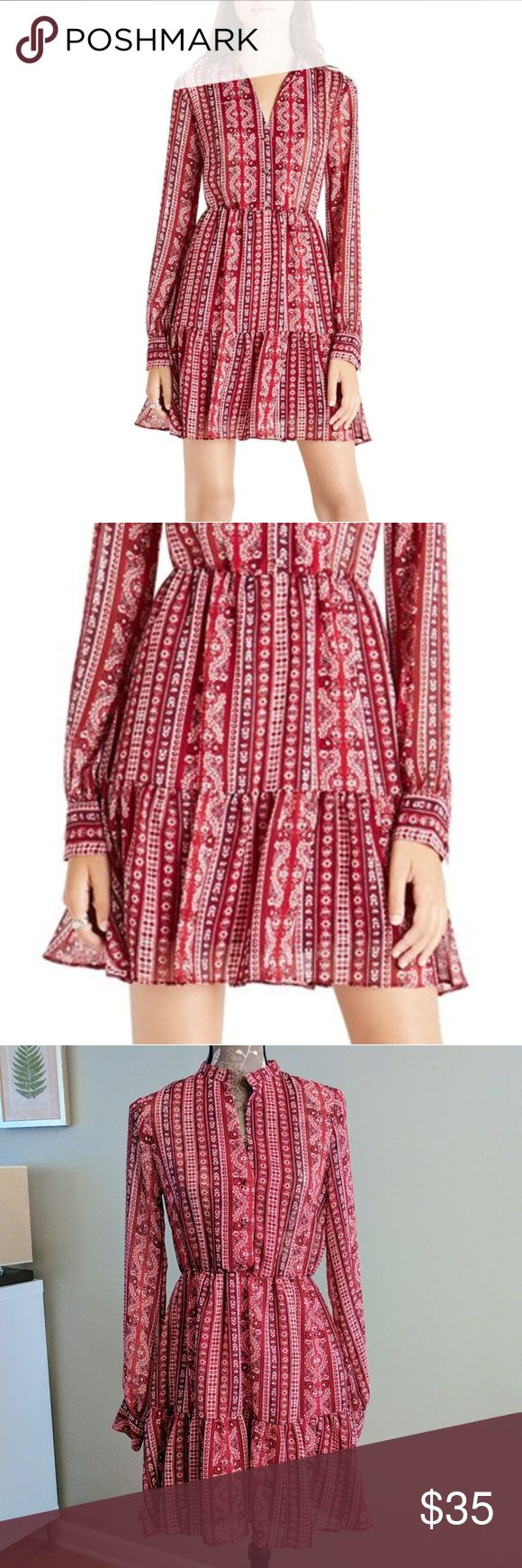 BCBGeneration Print Georgette Shirtdress Wine red printed peasant style dress with flared skirt. Bodice is semi sheer and skirt is lined. Elastic waist. Size Small. BCBGeneration Dresses