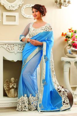 Light blue chiffon saree in shimmering silver border & light blue pallu