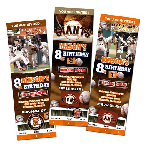 San Francisco Giant Birthday Party Invitations