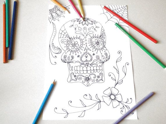 sugar skull halloween adult coloring page instant download art colouring book…