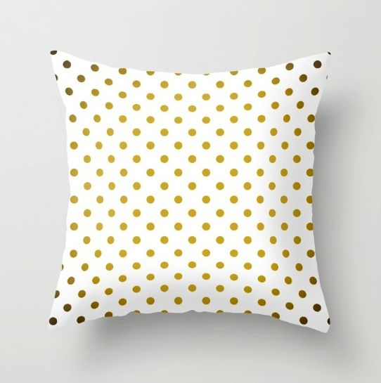 THROW PILLOW COVER   #Gradient #Gold #PolkaDots #Pattern #White #graphic #design #society6 #gradient #ombre #dotted  #elegant  #line #Bedsheets #bedroom #pillow #pillowcover