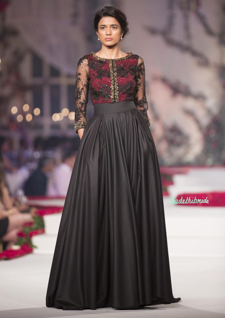 Black anarkali gown with Sheer Red and Black Yoke - Varun Bahl - Amazon India Couture Week 2015