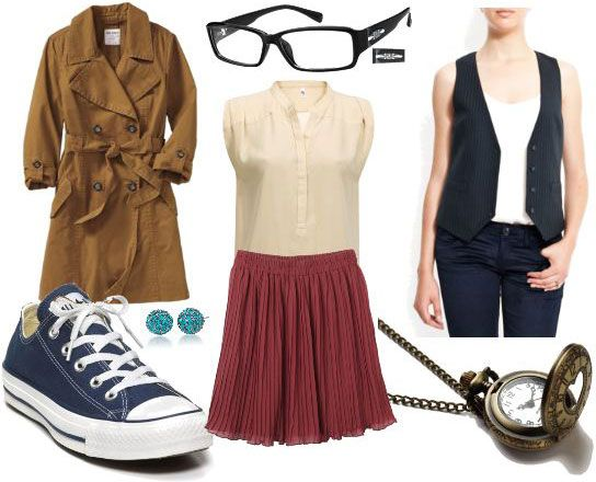 Look inspired by Doctor 10. No to the skirt and blouse, YES to the coat, shoes, glasses, and vest!