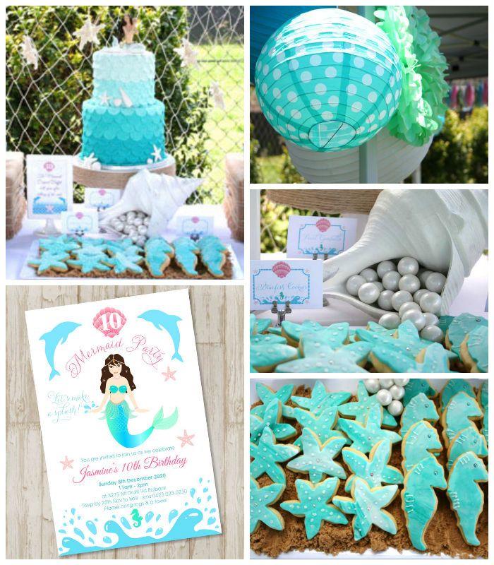 Enchanting Mermaid themed birthday party with Lots of Really Cute Ideas via Kara's Party Ideas! Full of decorating ideas, cakes, cupcakes, f...